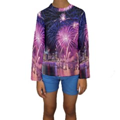 Singapore New Years Eve Holiday Fireworks City At Night Kids  Long Sleeve Swimwear