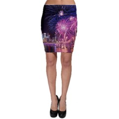 Singapore New Years Eve Holiday Fireworks City At Night Bodycon Skirt