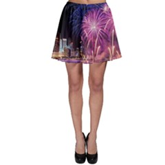 Singapore New Years Eve Holiday Fireworks City At Night Skater Skirt