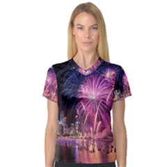 Singapore New Years Eve Holiday Fireworks City At Night Women s V Neck Sport Mesh Tee