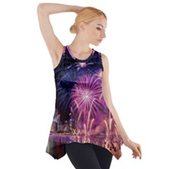 Singapore New Years Eve Holiday Fireworks City At Night Side Drop Tank Tunic