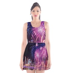 Singapore New Years Eve Holiday Fireworks City At Night Scoop Neck Skater Dress