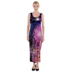 Singapore New Years Eve Holiday Fireworks City At Night Fitted Maxi Dress