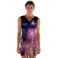 Singapore New Years Eve Holiday Fireworks City At Night Wrap Front Bodycon Dress