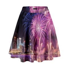 Singapore New Years Eve Holiday Fireworks City At Night High Waist Skirt
