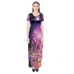 Singapore New Years Eve Holiday Fireworks City At Night Short Sleeve Maxi Dress