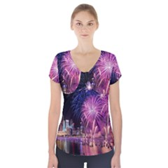 Singapore New Years Eve Holiday Fireworks City At Night Short Sleeve Front Detail Top