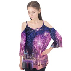 Singapore New Years Eve Holiday Fireworks City At Night Flutter Tees
