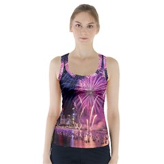 Singapore New Years Eve Holiday Fireworks City At Night Racer Back Sports Top