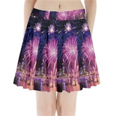Singapore New Years Eve Holiday Fireworks City At Night Pleated Mini Skirt