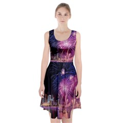 Singapore New Years Eve Holiday Fireworks City At Night Racerback Midi Dress