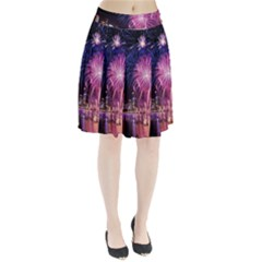 Singapore New Years Eve Holiday Fireworks City At Night Pleated Skirt