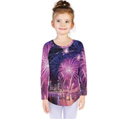 Singapore New Years Eve Holiday Fireworks City At Night Kids  Long Sleeve Tee