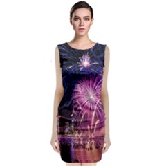 Singapore New Years Eve Holiday Fireworks City At Night Sleeveless Velvet Midi Dress