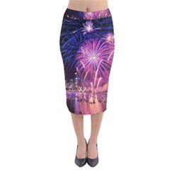 Singapore New Years Eve Holiday Fireworks City At Night Velvet Midi Pencil Skirt