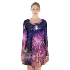 Singapore New Years Eve Holiday Fireworks City At Night Long Sleeve Velvet V Neck Dress
