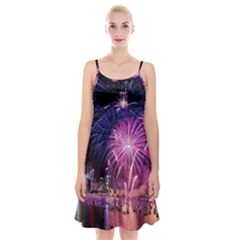 Singapore New Years Eve Holiday Fireworks City At Night Spaghetti Strap Velvet Dress