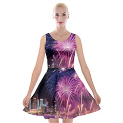 Singapore New Years Eve Holiday Fireworks City At Night Velvet Skater Dress