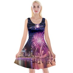 Singapore New Years Eve Holiday Fireworks City At Night Reversible Velvet Sleeveless Dress