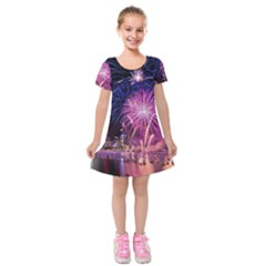 Singapore New Years Eve Holiday Fireworks City At Night Kids  Short Sleeve Velvet Dress