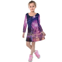 Singapore New Years Eve Holiday Fireworks City At Night Kids  Long Sleeve Velvet Dress