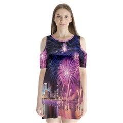Singapore New Years Eve Holiday Fireworks City At Night Shoulder Cutout Velvet  One Piece