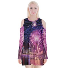 Singapore New Years Eve Holiday Fireworks City At Night Velvet Long Sleeve Shoulder Cutout Dress