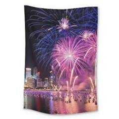 Singapore New Years Eve Holiday Fireworks City At Night Large Tapestry