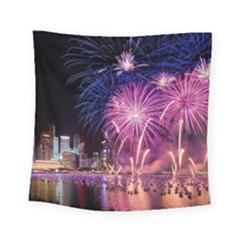 Singapore New Years Eve Holiday Fireworks City At Night Square Tapestry (small)