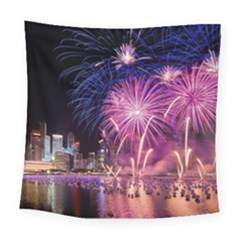 Singapore New Years Eve Holiday Fireworks City At Night Square Tapestry (Large)