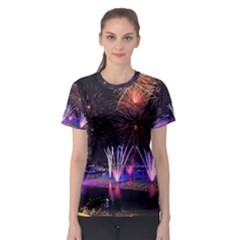 Singapore The Happy New Year Hotel Celebration Laser Light Fireworks Marina Bay Women s Sport Mesh Tee