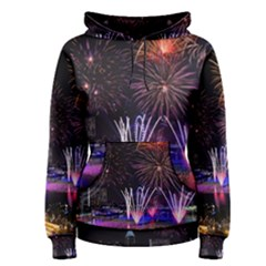 Singapore The Happy New Year Hotel Celebration Laser Light Fireworks Marina Bay Women s Pullover Hoodie