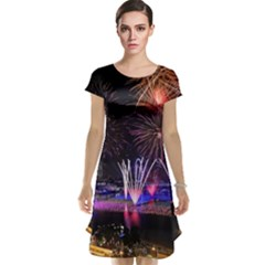 Singapore The Happy New Year Hotel Celebration Laser Light Fireworks Marina Bay Cap Sleeve Nightdress