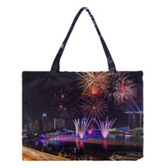 Singapore The Happy New Year Hotel Celebration Laser Light Fireworks Marina Bay Medium Tote Bag