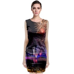 Singapore The Happy New Year Hotel Celebration Laser Light Fireworks Marina Bay Sleeveless Velvet Midi Dress