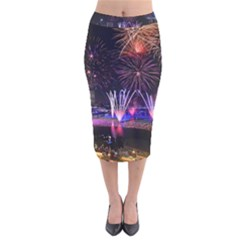 Singapore The Happy New Year Hotel Celebration Laser Light Fireworks Marina Bay Velvet Midi Pencil Skirt