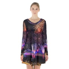 Singapore The Happy New Year Hotel Celebration Laser Light Fireworks Marina Bay Long Sleeve Velvet V Neck Dress