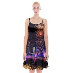 Singapore The Happy New Year Hotel Celebration Laser Light Fireworks Marina Bay Spaghetti Strap Velvet Dress