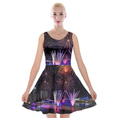Singapore The Happy New Year Hotel Celebration Laser Light Fireworks Marina Bay Velvet Skater Dress