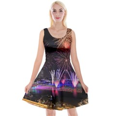Singapore The Happy New Year Hotel Celebration Laser Light Fireworks Marina Bay Reversible Velvet Sleeveless Dress
