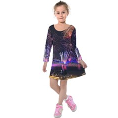 Singapore The Happy New Year Hotel Celebration Laser Light Fireworks Marina Bay Kids  Long Sleeve Velvet Dress