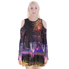 Singapore The Happy New Year Hotel Celebration Laser Light Fireworks Marina Bay Velvet Long Sleeve Shoulder Cutout Dress