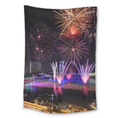 Singapore The Happy New Year Hotel Celebration Laser Light Fireworks Marina Bay Large Tapestry