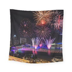 Singapore The Happy New Year Hotel Celebration Laser Light Fireworks Marina Bay Square Tapestry (small)