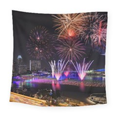 Singapore The Happy New Year Hotel Celebration Laser Light Fireworks Marina Bay Square Tapestry (Large)