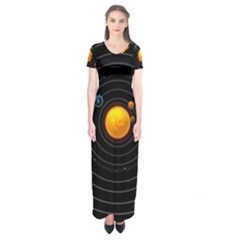 Solar System Short Sleeve Maxi Dress