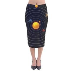 Solar System Velvet Midi Pencil Skirt