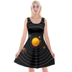 Solar System Reversible Velvet Sleeveless Dress