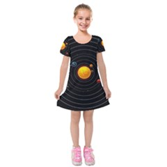 Solar System Kids  Short Sleeve Velvet Dress