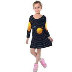 Solar System Kids  Long Sleeve Velvet Dress